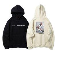 impressão japonesa venda por atacado-Japanese Streetwear capuz Hoodies Homens Winter velo Gato engraçado Impresso Unisex Harajuku Rapper Casual Moletom Bordado Homens