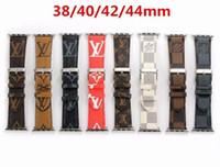 correa de reloj iwatch al por mayor-Correa de moda superior 42 mm 44 mm pulseras de cuero de lujo para banda de reloj de manzana 42 mm 38 mm iwatch 2 3 4 bandas correa de cuero pulsera deportiva