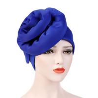 bufanda de las mujeres musulmanas de moda al por mayor-sombrero de la manera grande de la flor sólido Señora del turbante de la mujer sombrero musulmán bufanda headcloth límite al por mayor accesorios de la bufanda del pelo musulmanes Damas
