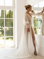 Wholesale organza dress wraps resale online - 2019 New Sheer Organza Wedding Robes Cheap Long Sleevs Custom Made Bridal Morning Robes Bridal Bridesmaid Sleepwear Wedding Dress