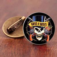 pistole broschen großhandel-Guns N Roses Anstecknadeln Steampunk Glaskuppel Rock And Roll Band Schmetterling Broschen Kragen Pin