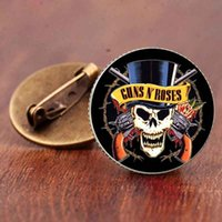 ingrosso spille di pistola-Guns N Roses Pins con risvolto Steampunk Cupola di vetro Rock and Roll Band Butterfly Brooches Collar Pin