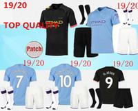 camisas de futebol kit completo venda por atacado-2019/20 manchester camisas de futebol 2019 2020 celebração Mashup kit adulto KUN AGUERO DE BRUYNE cidade longe de casa camisa kit completo com meias