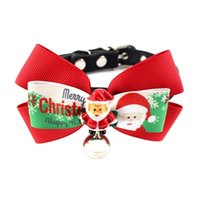 Wholesale ribbon collars dogs resale online - Cute Pet Christmas Halloween Grooming Large Ribbon Bowknot Adjustable Collar With Bell For Cats Dogs Accessoriesn