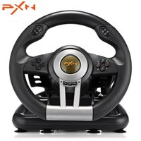 Wholesale PXN V3II Racing Game Steering Wheel USB Vibration Dual Motor with Foldable Pedal for PS3 PS4 Xbox One Gaming Remote Controller T191227