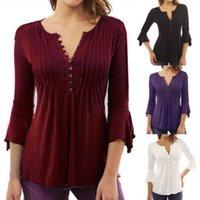 mor bluzlar toptan satış-Moda Kadınlar Gevşek 3/4 Sleeve Casual Pamuk Yaz Bluzlar Gömlek Katı Renk Mor Şarap Kırmızı Tops Bluz Gömlek Tops