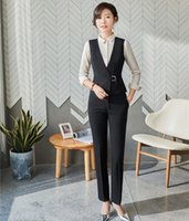 mulheres de terno colete preto venda por atacado-Formal senhoras preto colete colete mulheres ternos de negócios com calça e top define estilos uniformes de escritório