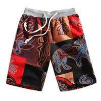 pantalones de lino estilo de los hombres al por mayor-2019 Nuevo Verano Pantalones de Playa de Los Hombres de Cintura Elástica Moda Estilo Étnico Impreso Loose Linen Beach Shorts Pantalones más el tamaño L415