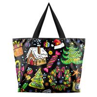 sac shopping noir achat en gros de-Femmes Black Shoulder Strap Bag Shopper Bag Sac à main Impression 3D Fourre-tout Occasionnel Réutilisable Shopping # 89701