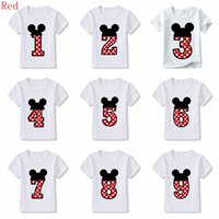 erkek çocuk doğumgünü kartları toptan satış-45 stilleri Bebek Erkek Kız Mutlu Doğum Günü Yay Sevimli Kart Baskı Giysileri Çocuk Komik T-Shirt Çocuk Numarası 1-9 Doğum Günü Hediyesi