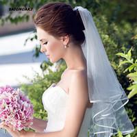 cinta de ribete de encaje al por mayor-SATONOAKI Velo de novia simple y elegante Velos de tul nupciales con peine y borde de cinta de encaje blanco (blanco)