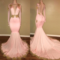 ingrosso arrossiscono i vestiti da ritorno nero-Oro Appliques Sexy Blush rosa Mermaid Buxom Women Prom Dress Custom made Indietro Hollow Fashion Black Girl Homecoming Maxi Gown