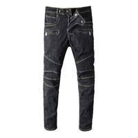 zipper das calças dos homens venda por atacado-Moda Mens Designer Jeans Calças De Brim De Luxo Zíper Afligido Homens Rasgado Calças Jeans Tamanho Preto 29-42