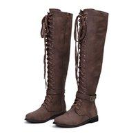 tubo de caballero al por mayor-Botas mujer invierno 2019 Moda de invierno Mujer Damas Retro Zapatos de tacón bajo con cordones Long Tube Knight Boots botas de mujer E55