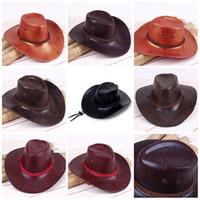 chapéu de abas largas de palha preta venda por atacado-Homens E Mulheres West Cowboy Hat Verão Tecelagem De Palha De Aba Larga Chapéus Cap Sun Sol Ventile Ao Ar Livre Venda Quente 7 5csG1