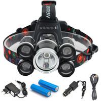 faróis de bicicleta recarregáveis venda por atacado-Recarregável 18000lm 5 led Zoomable farol ZOOM farol Caça pesca bicicleta luz + Car AC / carregador