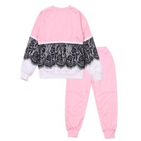 Wholesale light pink sweaters for sale - Group buy Kids Lace Sweater Set Crew Round Neck Long Sleeve Sweater Pants Leisure Warmth Solid Color Sportswear