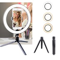 12W Photography LED Selfie Ring Light 260MM Dimmable Camera Phone Lamp Fill Light with Table Tripods Phone Holder T200115