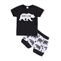 camisas casuais pretas para meninos venda por atacado-Meninos do bebê Selvagem Um T-shirt do Urso Shorts Roupas 2 pcs Set Animais Trajes Pretos Outwear Treino Ocasional Roupa do Miúdo Criança B11