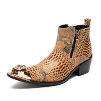 ingrosso stivali a punta di punta per l'uomo-Mens Boot Uomo oro punta a punta punta in metallo stivali da uomo Genuine leatherr personalità della moda med tacco 39-46
