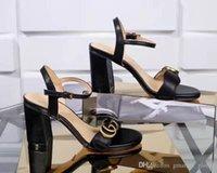 talons à semelle en caoutchouc achat en gros de-Nouveau designer sandales en cuir de luxe femmes sandales talon épais semelles en caoutchouc en caoutchouc chaussures femme sandales