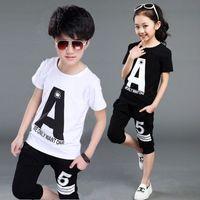 корейские бренды одежда для детей оптовых-Summer Baby Boy Clothes Korean  Anchor Printing Short Sleeved T-shirt Tops + Middle Pants Outfits Kid Bebes Jogging Suits