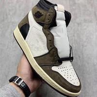 t chaussures homme achat en gros de-2019 Nouvelle version Travis 1 1s haut OG TS SP Cactus Jack foncé Scotts Moka Hommes Femmes Chaussures de basket-ball Authentique Baskets