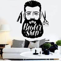 Wholesale decor vinilos resale online - Big Moustache Man Barbershop Decor Vinyl Wall Decal Barber Hair Salon Beard Interior Wall Stickers Murals Vinilos Paredes