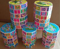 juguete plástico del bebé del cubo al por mayor-7 * 5.5cm Rompecabezas para niños Cubo de Rubik Plástico Bebé Juguetes educativos digitales Cilíndrico Cubo de RubikI nteligence toys