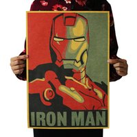 Wholesale hero decor for sale - Group buy Hero Iron Man Vintage Coffee bar posters Kraft Paper Classic Home Decor Wall Decoration