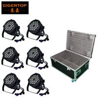 ingrosso par 64 può luci-TIPTOP Stage Light 18x18W LED DJ Par luce RGBWAUV 6in1 Par Can 64 DMX512 Disco Bar impermeabile Rack Flight Tour Case 8in1 Pack TP-P105C