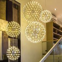 ingrosso lampada a sospensione di carciofi-Moderna breve palla Loft scintilla LED Pendant Light dispositivo d'artificio a sfera in acciaio inox illuminazione a sospensione Lampade deco domestico 110-240V