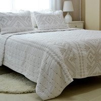 Wholesale foreign bedding online - Cotton quilt set comforter hand quilted by American bed cover Three piece bed sheets Foreign trade original per set white embroidery