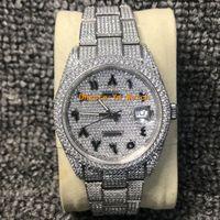 relógios de prata e relógios homens venda por atacado-Dial Árabe Assista Diamond Watch Luxo Iced Out Assista ETA 2824 41MM Automatic Men prata impermeável 904L inoxidável Set CZ Diamante