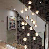asma kristalleri toptan satış-Modern led büyük merdiven kristal avize aydınlatma armatürleri asılı lustre cristal uzun çatı cam kabarcık top lamba Tavan Avize