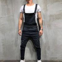 ingrosso i pantaloni di denim di hip hop-MoneRffi Nuovi Denim da uomo Tuta da falegnameria 2019 Primavera Autunno Casual Pantaloni larghi Bib Pantalone Moda uomo Hip Hop Tuta Jean