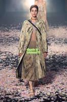 mulheres de malharia de qualidade venda por atacado-Crisântemo das mulheres Impresso Longo Trench Coat Único Breasted O Top Quality Moda Cinto X-Long Casacos S-M-L