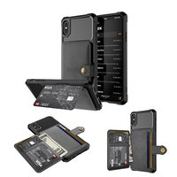 magnetgehäusehalter großhandel-Luxus Business Magnet Button Kartenhalter Wallet Phone Case für iPhone 6 7 8 / X / Xs / Xr / XS max