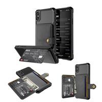 casos do ímã venda por atacado-Negócios de luxo ímã botão titular do cartão carteira caso de telefone para iphone 6 7 8 / x / xs / xr / xs max