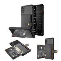 porte-cartes de visite iphone achat en gros de-Portefeuille de téléphone de portefeuille de porte-cartes d'aimant d'affaires de luxe pour iPhone 6 7 8 / X / Xs / Xr / XS Max