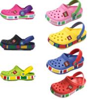 delik katır ayakkabıları toptan satış-Marka Çocuklar Erkek Kızlar için Kauçuk Katırlar Yaz Sandal Tasarımcı Delik Terlik Marka Ayakkabı Plaj Açık Ayakkabı Çevirme Sandalet 2019 C7201