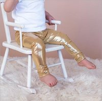 Wholesale girls bling pants resale online - Retail Colors Ins Baby Girls Gold Bronzing Leggings infant Toddler Casual Tights Glitter Bling sweatpants Trousers Kids Boutique Clothing