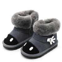 ingrosso caricamenti del sistema invernali neri delle neonate-2018 Inverno Toddler Baby Girl Cartoon Snow Boot Bambino Moda vera pelle nera calda pelliccia piatta Kid Shoe CS2444