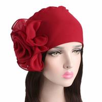 nuevas hermosas bufandas al por mayor-2018 Nueva Mujer Hermosa Flor Turbante Elástico Sombrero de Cabeza Gorro Damas Accesorios Para el Cabello Hijabs Bufanda de Mujer Musulmán