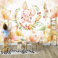 Wholesale flowers living room sofa online - Cartoon cute pig Wallpaper Children s room wallpaper Watercolor flower Silk Wall Murals Large wall Art Bedroom Sofa TV background wall