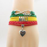 rote gelbe grüne armbänder großhandel-Unendlichkeits-Liebes-Mali-Land-Armband-Herz-Charme-Mali-Staatsflaggen-Grün-Gelb mit roten Armband-Armbändern für Frau und Mann