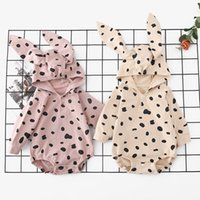 Wholesale girl cat ears headband resale online - New Designs INS High end Toddler Baby Girls Rompers Hooded Cat Ears Cotton Long Sleeve Polka Dot Front Buttons Spring Autumn Newborn Onesies