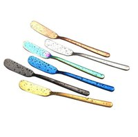 Wholesale cheese online - 7 Colors Stainless Steel Butter Knife Cheese Dessert Jam Spreader Cream Knives Western Cutlery Baby Feeding Tool CCA11468