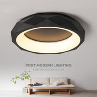 plafonniers modernes ronds achat en gros de-Noir Blanc forme ronde Moderne LED Plafonniers pour salon lit chambre studio éclairage Creative moderne plafonnier luminaires I114