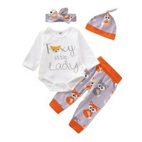 Wholesale baby clothing fox resale online - Newborn Girls Romper Set Infant Baby Letter Animal Romper Tops Kids Designer Outfits Clothing Set Fox Pants Hat With Headband Four Piece Set